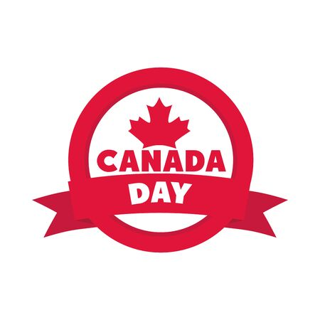 canada day, maple leaf banner insignia vector illustration flat style icon Ilustracja
