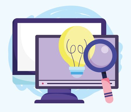 online education, computer website magnifying glass creativity vector illustration