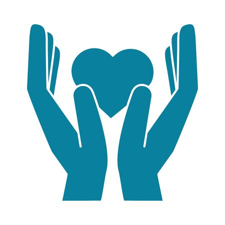 happy friendship day celebration hands giving heart love vector illustration silhouette style icon Иллюстрация