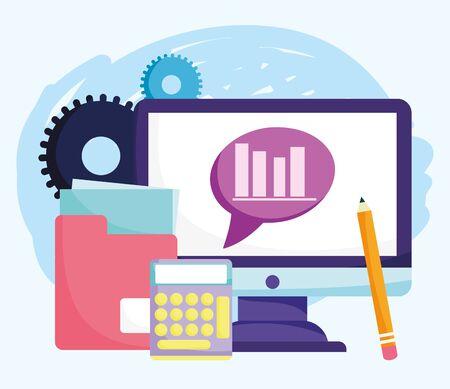 online education, computer calculator folder document pencil 일러스트