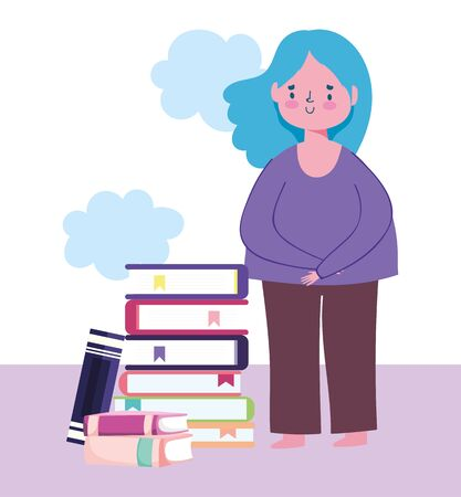online education, girl student character stacked books 일러스트
