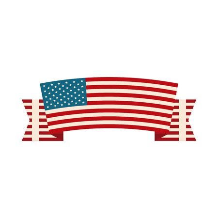 happy independence day, ribbon with american flag decoration flat style icon Ilustração