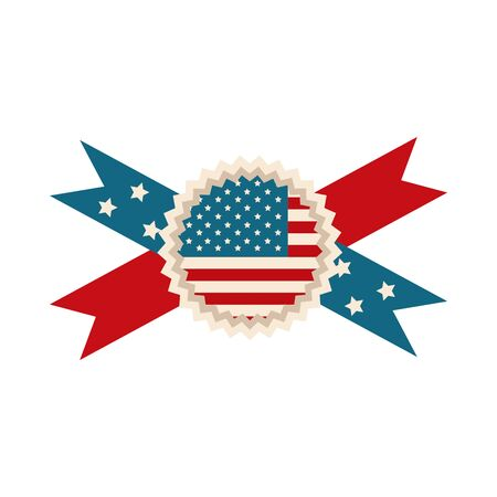 happy independence day, american flag rosette ribbon celebration flat style icon