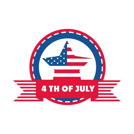 4th of july independence day, american flag star sticker banner flat style icon 일러스트