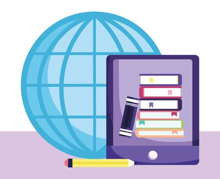 online education, smartphone world books pencil school 일러스트