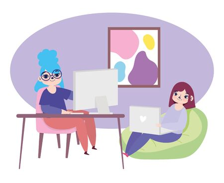 working remotely, young women with laptop and computer desk work