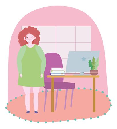 working remotely, woman standing in room with computer desk and chair