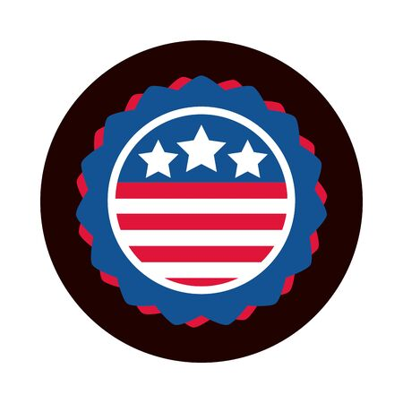 4th of july independence day, american flag emblem national design block and flat style icon 일러스트