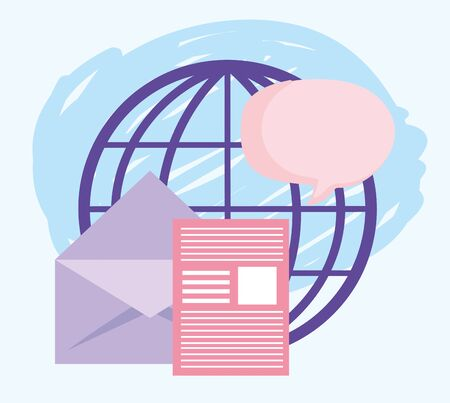 online education, world document envelope message lesson Ilustracja