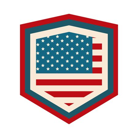 happy independence day, american flag shield patriotism design flat style icon 스톡 콘텐츠 - 147756375