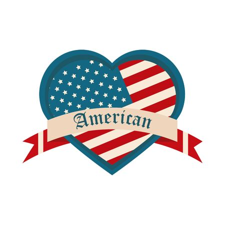 happy independence day, american flag shaped heart ribbon design vector illustration flat style icon