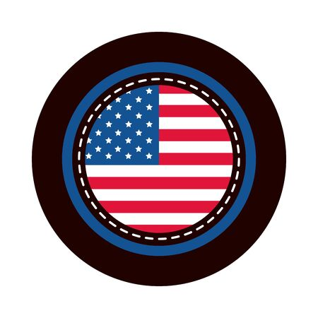 4th of july independence day, american flag round sticker design vector illustration block and flat style icon Ilustração