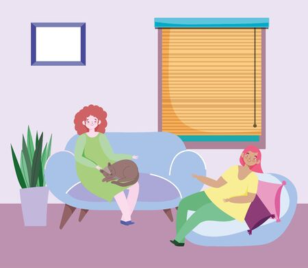 young women sitting in living room with cat and cushions window