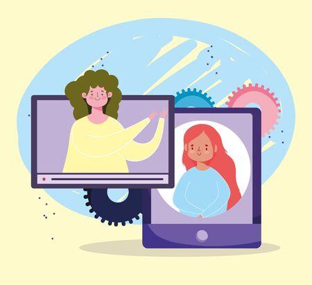online education, teacher and student website class study smartphone vector illustration