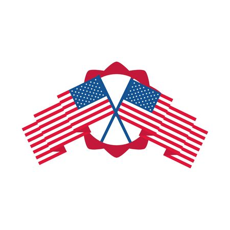 4th of july independence day, crossed american flags banner vector illustration flat style icon