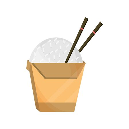 japanese rice in box with chopsticks food vector illustration flat style icon  イラスト・ベクター素材