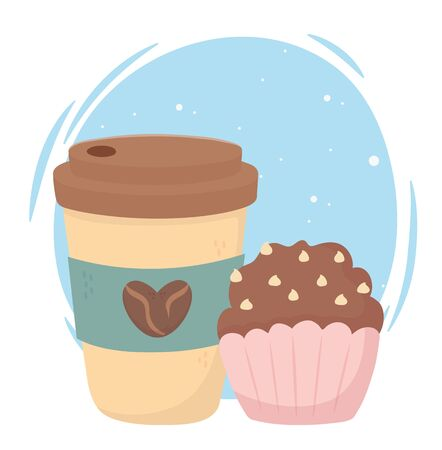coffee time, disposable cup and sweet cupcake fresh aroma beverage vector illustration 일러스트