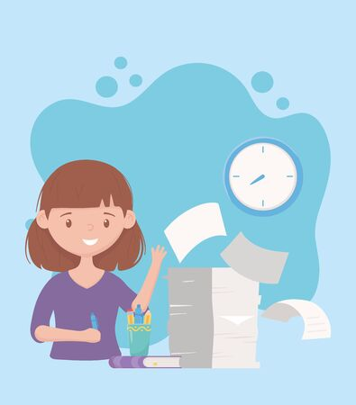 stress at work, businesswoman with pile of documents book and clock vector illustration