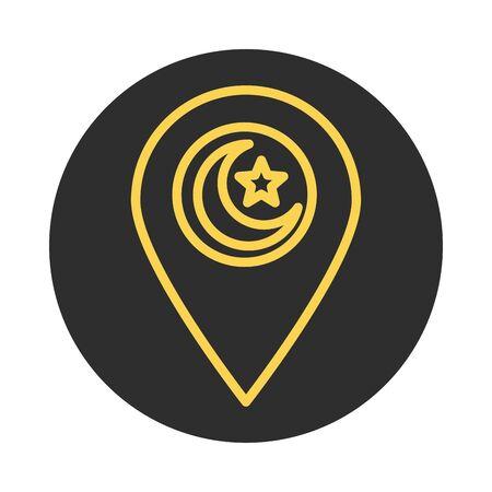 pointer location eid mubarak islamic religious celebration vector illustration block and line icon