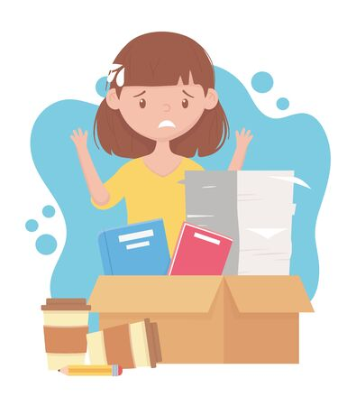 stress at work, exhausted female employee with stack of documents books on box and coffee cups vector illustration 일러스트