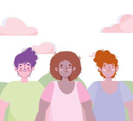 group young men cartoon characters outdoor design vector illustration 일러스트