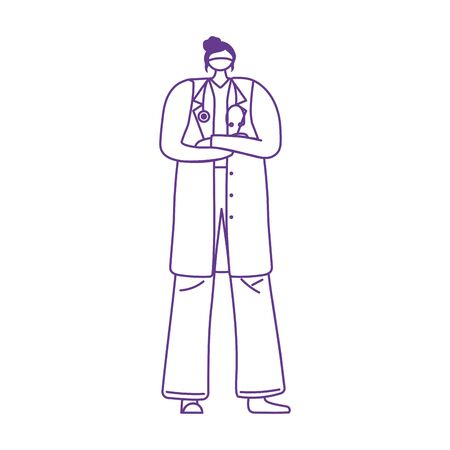 professional female physician with medical mask protection and stethoscope vector illustration