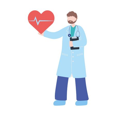 thanks doctors nurses, physician with heartbeat medical help vector illustration