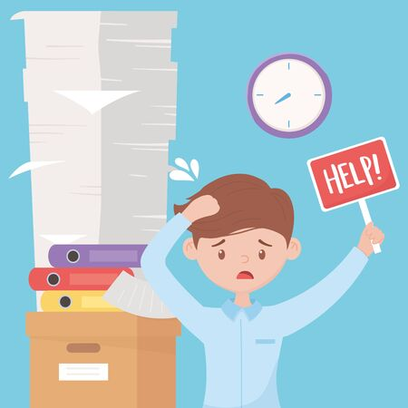 stress at work, stressed worker with help board pile of documents binders on box and clock vector illustration