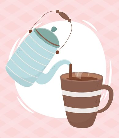 coffee time, kettle pouring in cup fresh aroma beverage vector illustration 일러스트