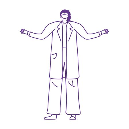 professional female physician with medical mask protection vector illustration 일러스트