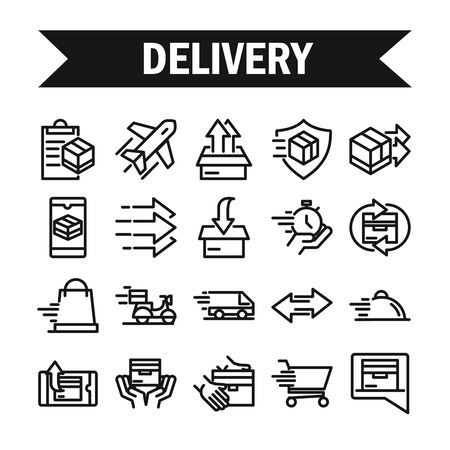 delivery cargo service logistic shipping commerce icons set vector illustration line style