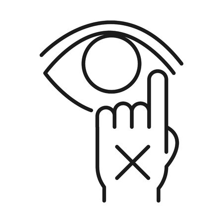 Dont touch your eye line style icon design of Medical care and covid 19 virus theme Vector illustration Illustration