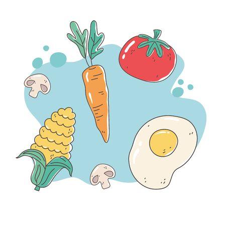 healthy food nutrition diet organic fried egg tomato carrot corn mushroom vector illustration Vettoriali