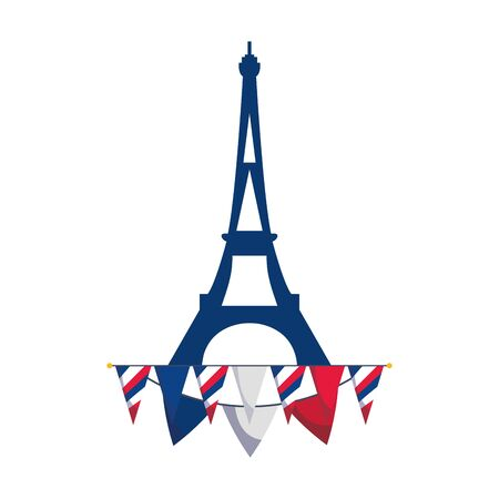 france eiffel tower and banner pennant vector design