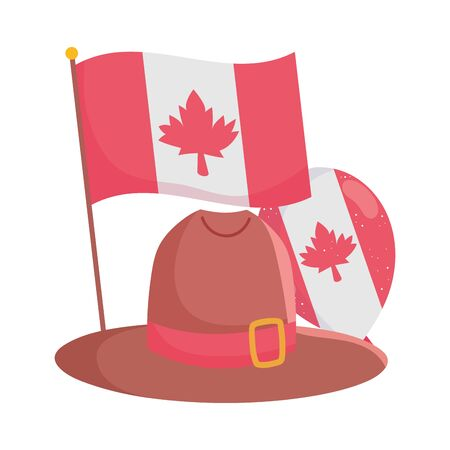 Isolated canadian flag with hat and balloon vector design Vektorgrafik