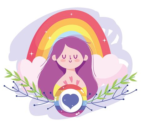 Girl cartoon with lgtbi rainbow and heart seal stamp design, Pride day sexual orientation and identity theme Vector illustration Vettoriali