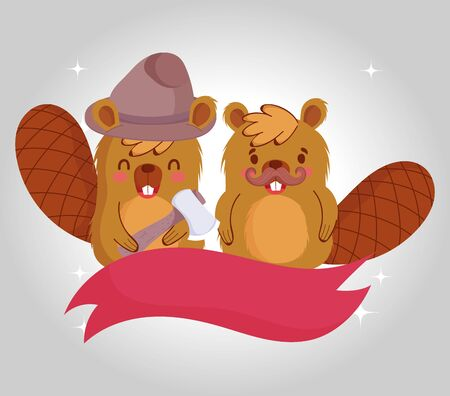 Canadian beavers with ribbon design, Happy canada day holiday and national theme Vector illustration