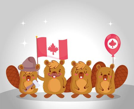 Beavers with canadian flag and balloon design, Happy canada day holiday and national theme Vector illustration