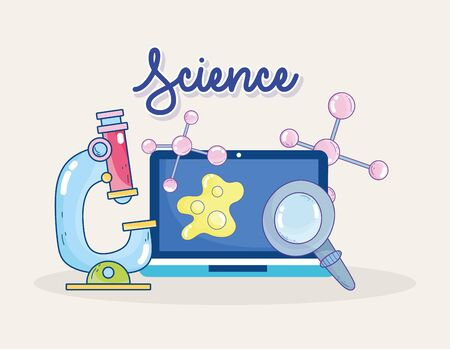 science microscope laptop magnifier molecule research laboratory vector illustration