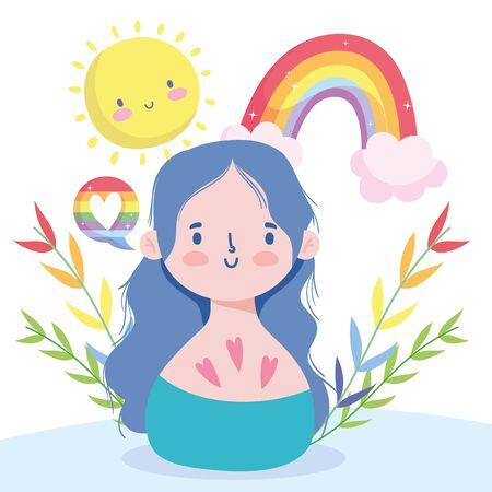 Girl cartoon with lgtbi rainbow and sun cartoon design, Happy pride day sexual orientation and identity theme Vector illustration