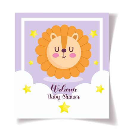 baby shower lion face stars celebration, welcome invitation template vector illustration