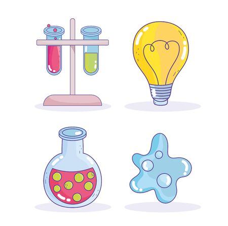 science research laboratory bulb test tube beaker atom icons Illustration