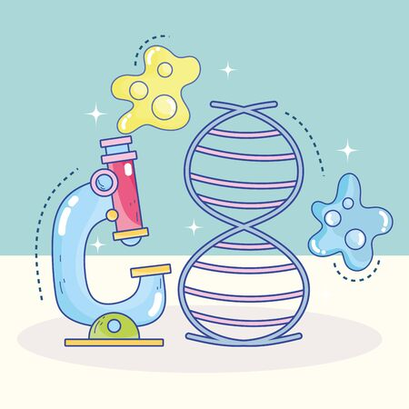 science microscope dna molecule genetic research laboratory vector illustration Illustration
