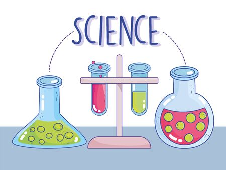 science chemistry test tube rack research laboratory vector illustration
