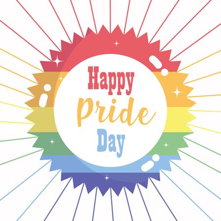 happy pride day, rainbow celebration freedom LGBT community label Vectores