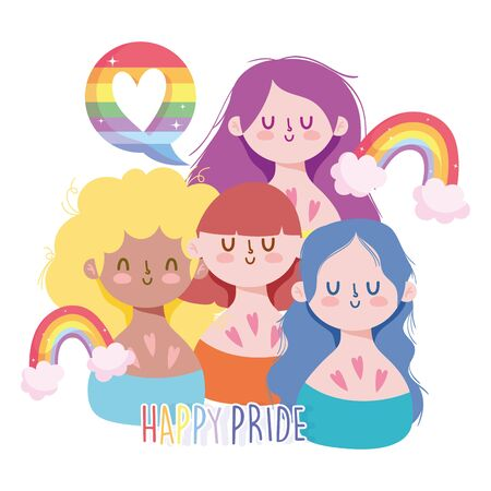 Girls cartoons with lgtbi rainbows design, Happy pride day sexual orientation and identity theme Vector illustration Vectores
