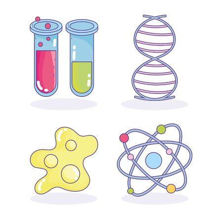 science genetic dna molecule test tube research laboratory vector illustration