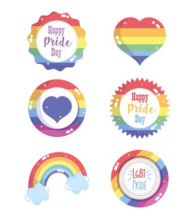 happy pride day, rainbow flag heart label badge set LGBT community