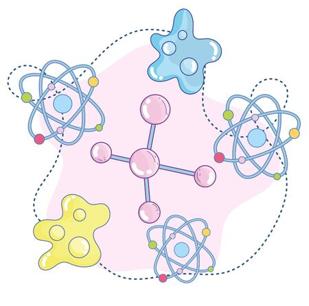 science molecule atom structure particle research laboratory vector illustration