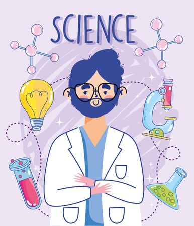 science professor man test tube microscope education research laboratory vector illustration